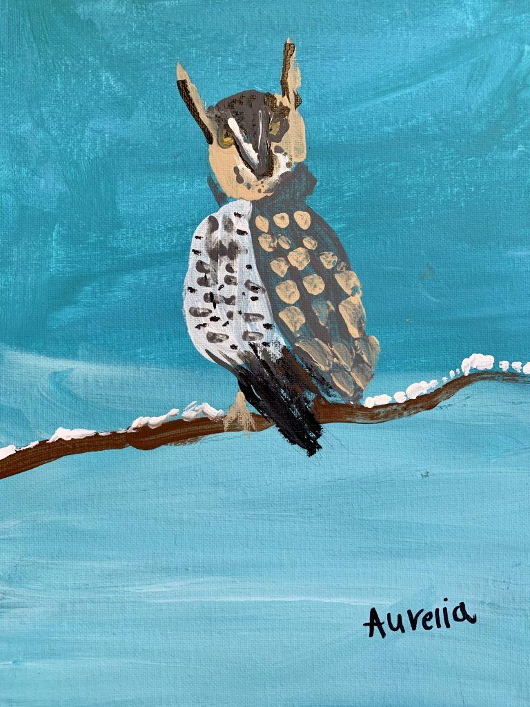 """Aurelia R-T age 7 """"The Tiny Horned Owl"""""""
