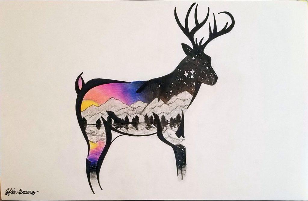"""Sofia A """"Deer Sunset"""" age 13"""