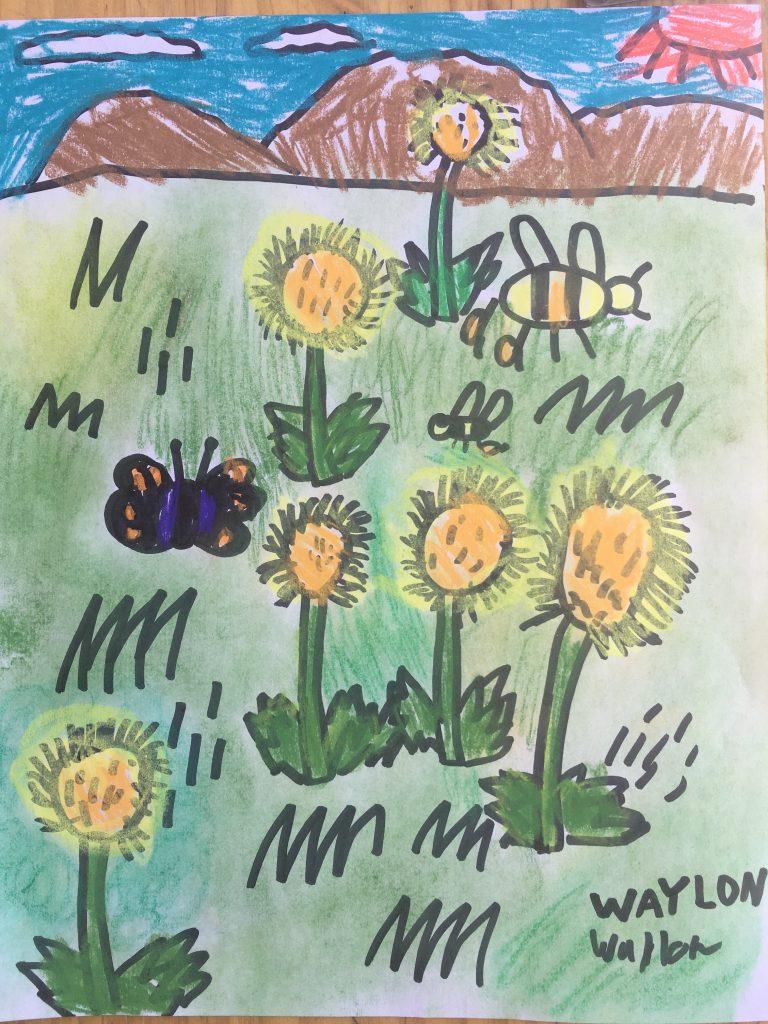 """Waylon L """"The Dandelion Field"""" age 8"""